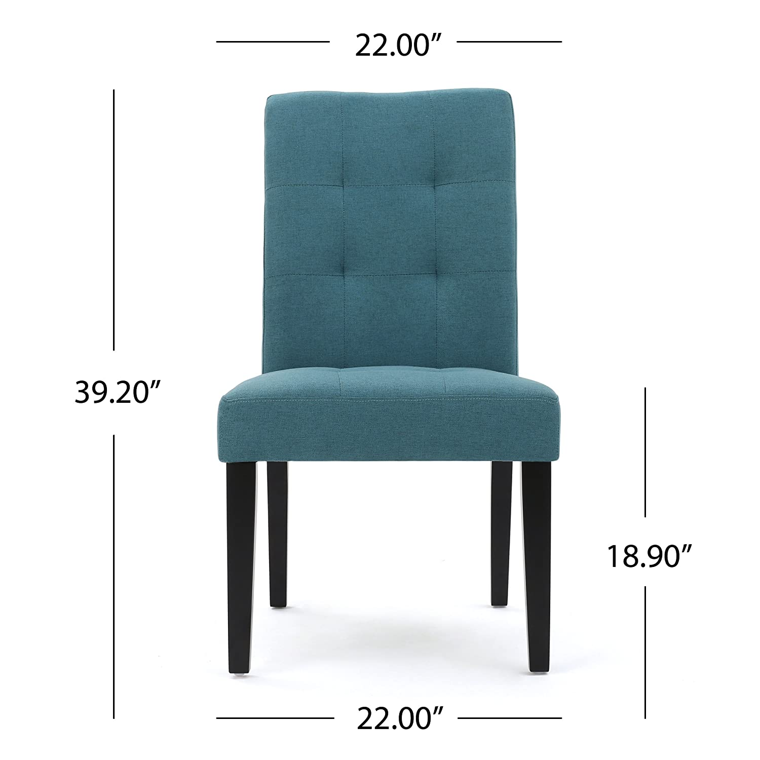 Chaplin Teal Fabric Dining Chair Set of 2