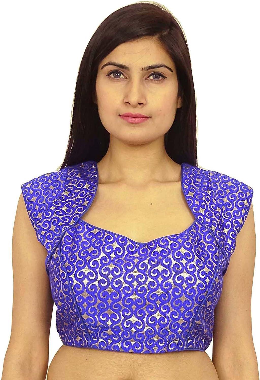 Brown New Sleeveless Net Embroidery Readymade Stitched Saree Wedding Blouse Party Fabric Tunic Top sari Choli Women Indian Sareeblouses