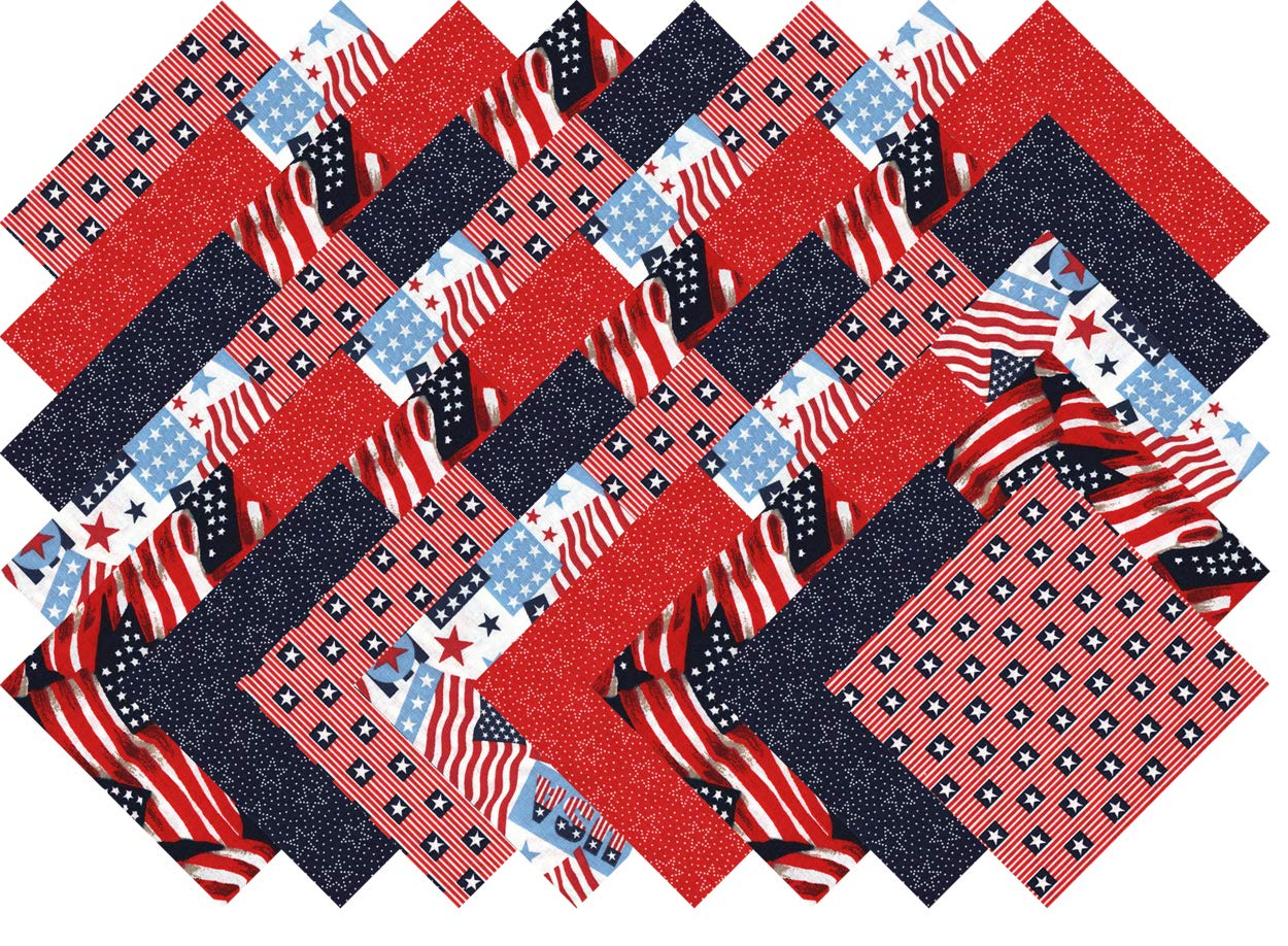 Patriotic USA Flag Charm Pack 40 Precut 5-inch Quilting Fabric Squares ...