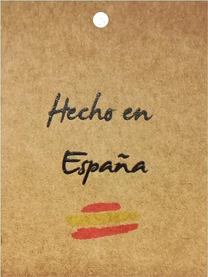 50 Etquetas colgantes de cartón kraft Hecho en España: Amazon.es: Oficina y papelería