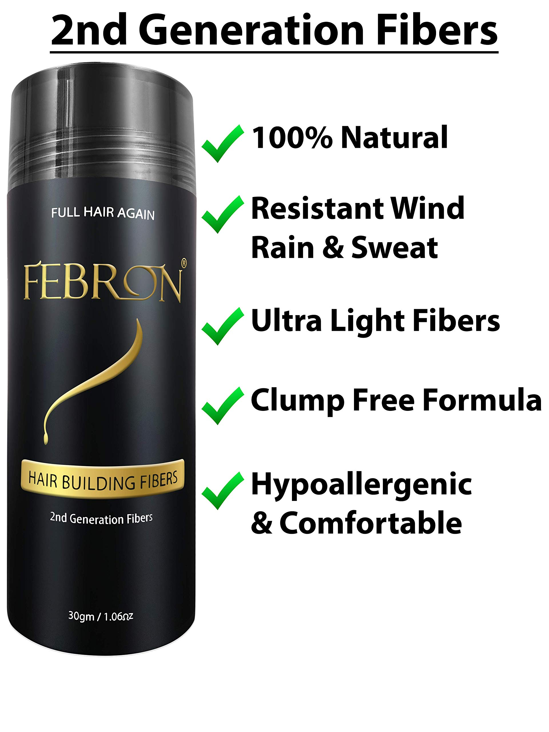 FEBRON Hair Building Fibers PACK of 3 BIG Bottles TOTAL 90gm (3.18 oz) - Hair Loss Concealer Kit & Cover Bald Spots For Thinning Hair For Men & Women (Light Brown) by FEBRON (Image #3)