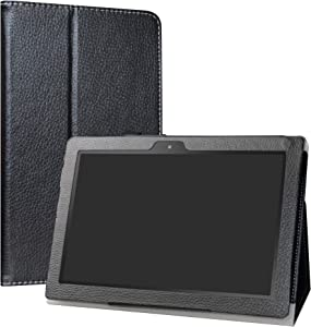 "Digiland DL1023 /DL1016 /DL1018A Tablet Case,LiuShan PU Leather Slim Folding Stand Cover for 10.1"" Digiland DL1023 /DL1016 /DL1018A Android Tablet PC,Black"