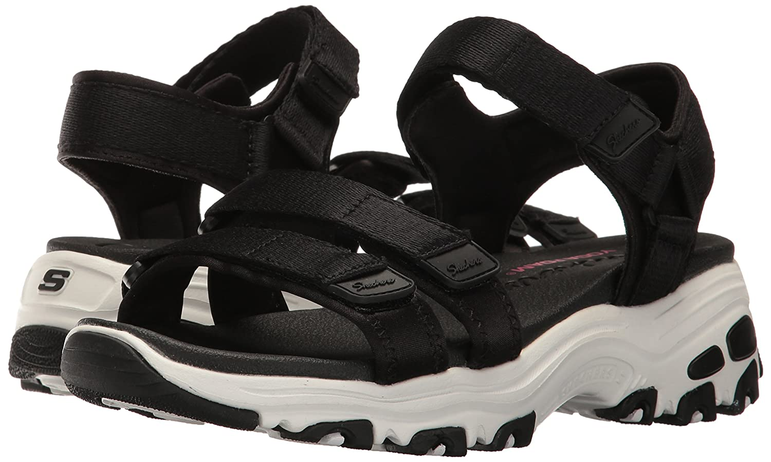 Skechers Cali Women's D'Lites-Fresh Catch Wedge Sandal B01MSWN7I4 11 B(M) US|Black
