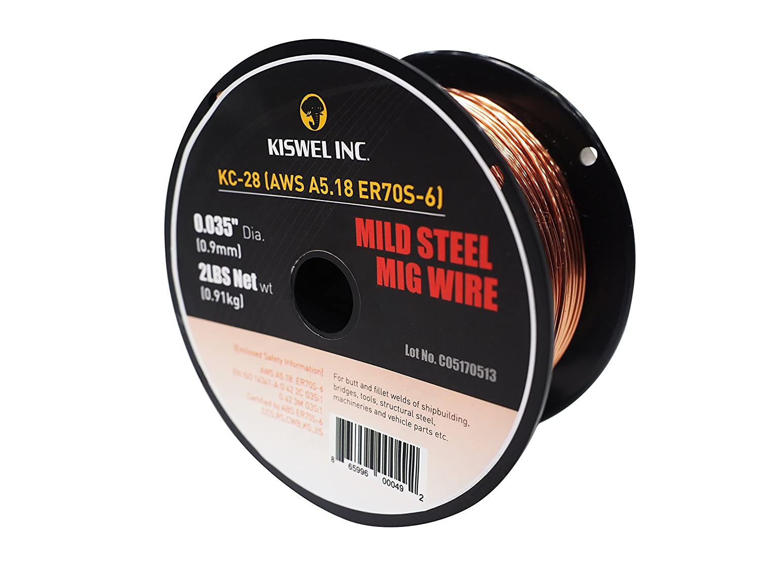 Dia 2 lbs Mild Steel Mig Copper Coated Solid Wire Gas Metal Arc Welding Wire Spool Made in USA Kiswel USA KC-28 ER70S-6 0.035 in