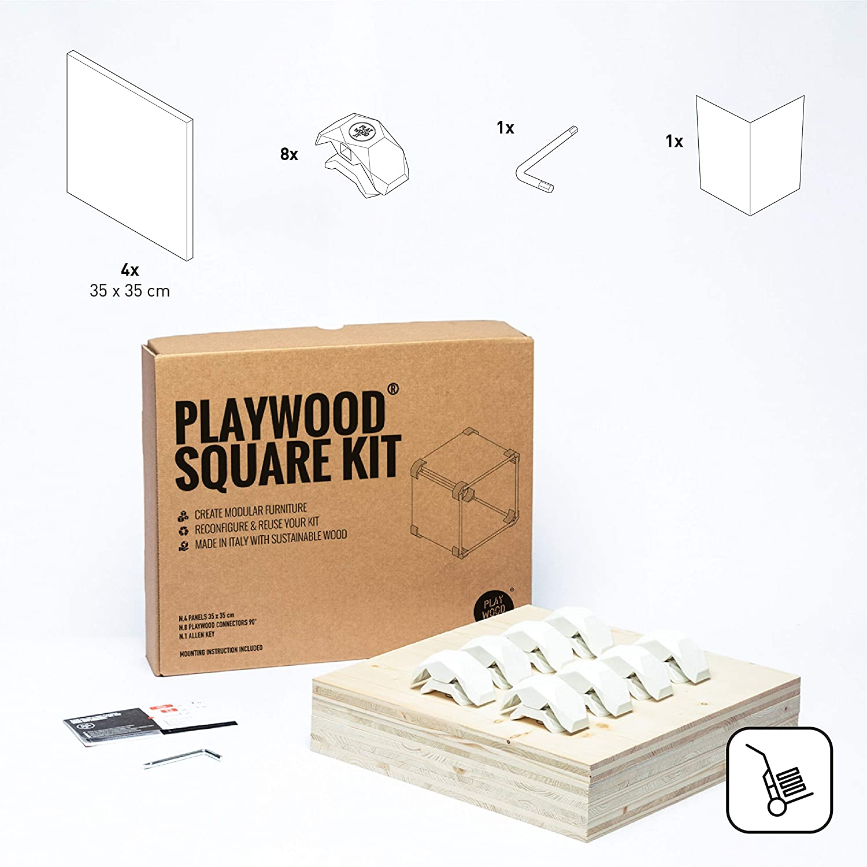kit de 8 conectores y 4 paneles incluidos cubo componible en madera de abeto con estante porta objetos PlayWood Medidas 42x42x35cm Blanco utilizable como taburete