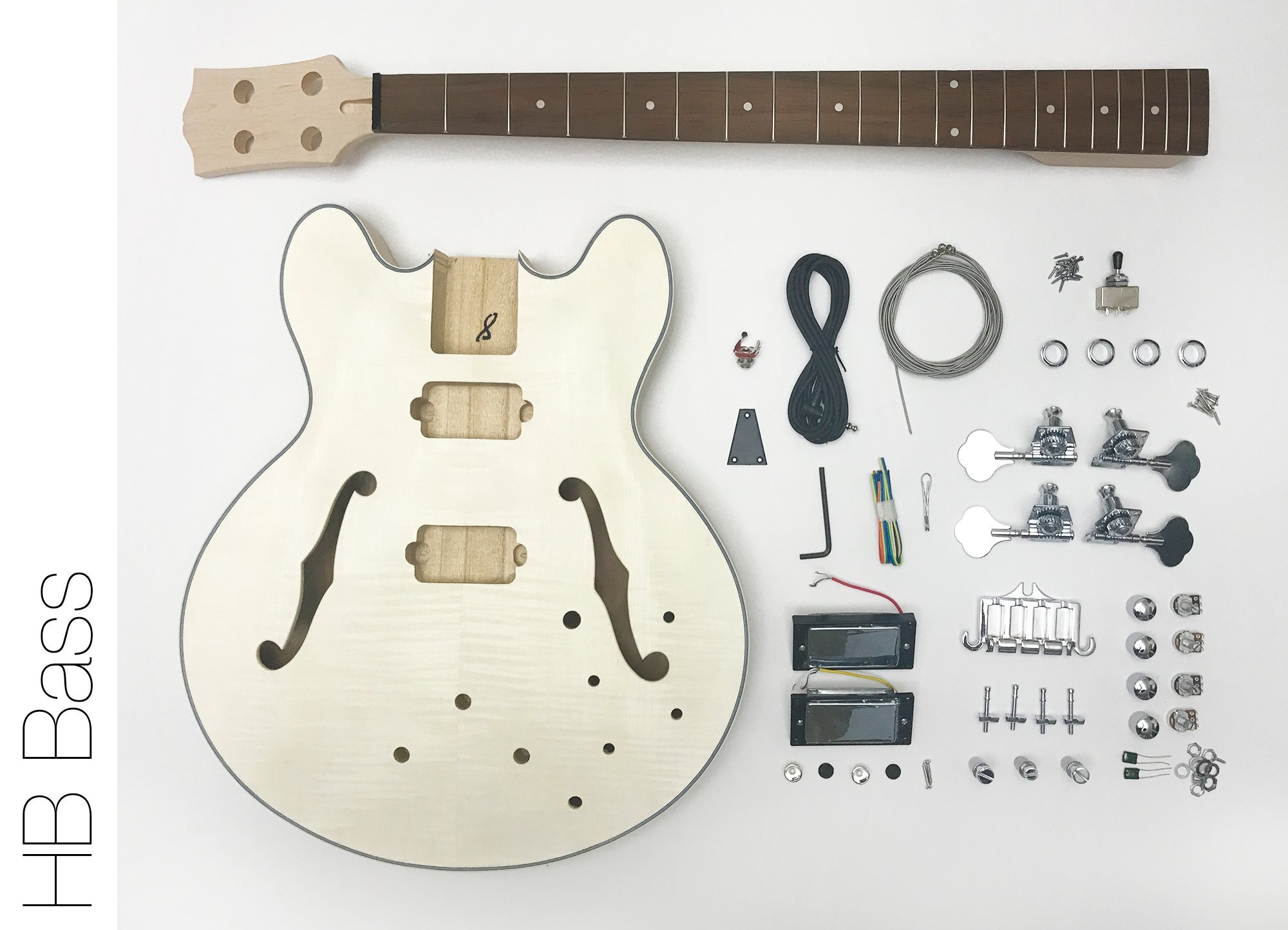 DIY Electric Bass Guitar Kit - Semi Hollow Body Bass Build Your Own by TheFretWire