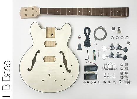 DIY – Kit de Guitarra Eléctrica Bass construir su propio cuerpo hueco