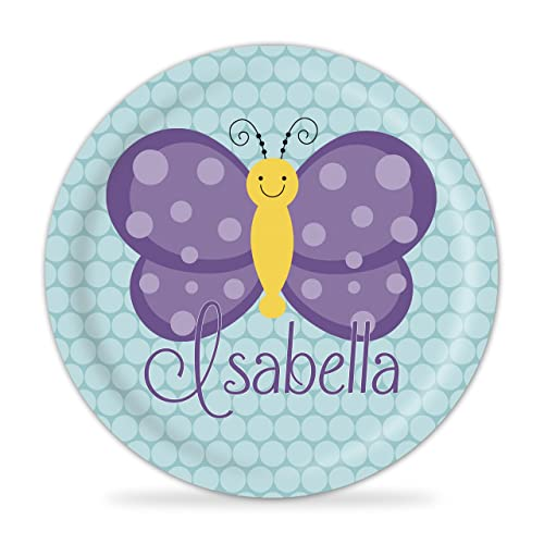 Butterfly Plate - Teal and Purple Butterfly Melamine Personalized Plate  sc 1 st  Amazon.com : melamine personalized plates - pezcame.com