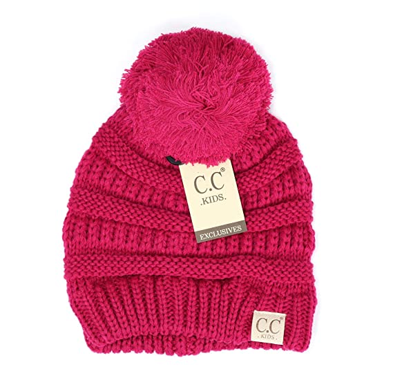 Motobear CC Kids Beanie Hats Baby Toddler Cable Knit Children s Pom Winter  Hat CC Beanie Kids 0e92c422dfe