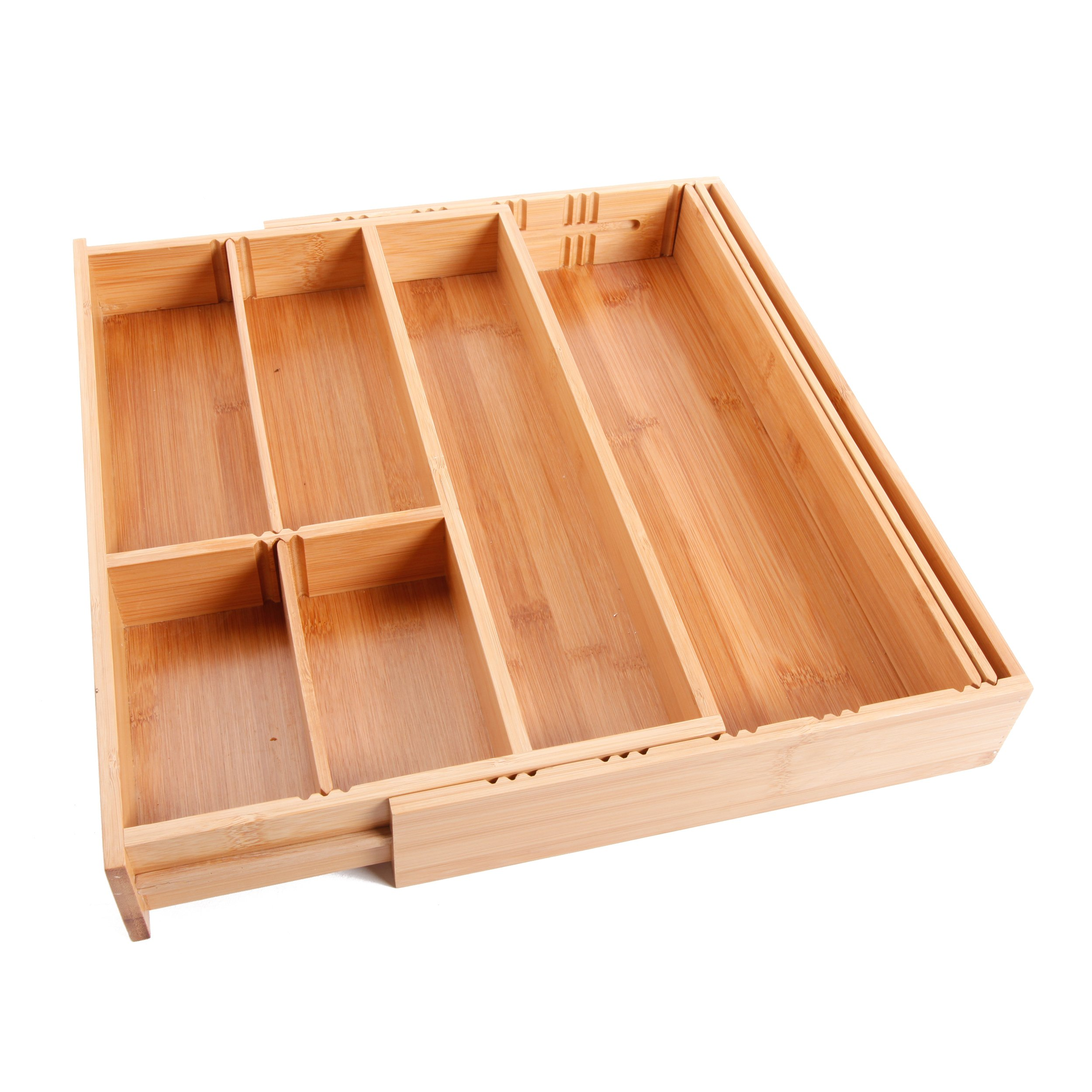 Gibson Home Natural Trends Bamboo Expandable Flatware Tray, Brown