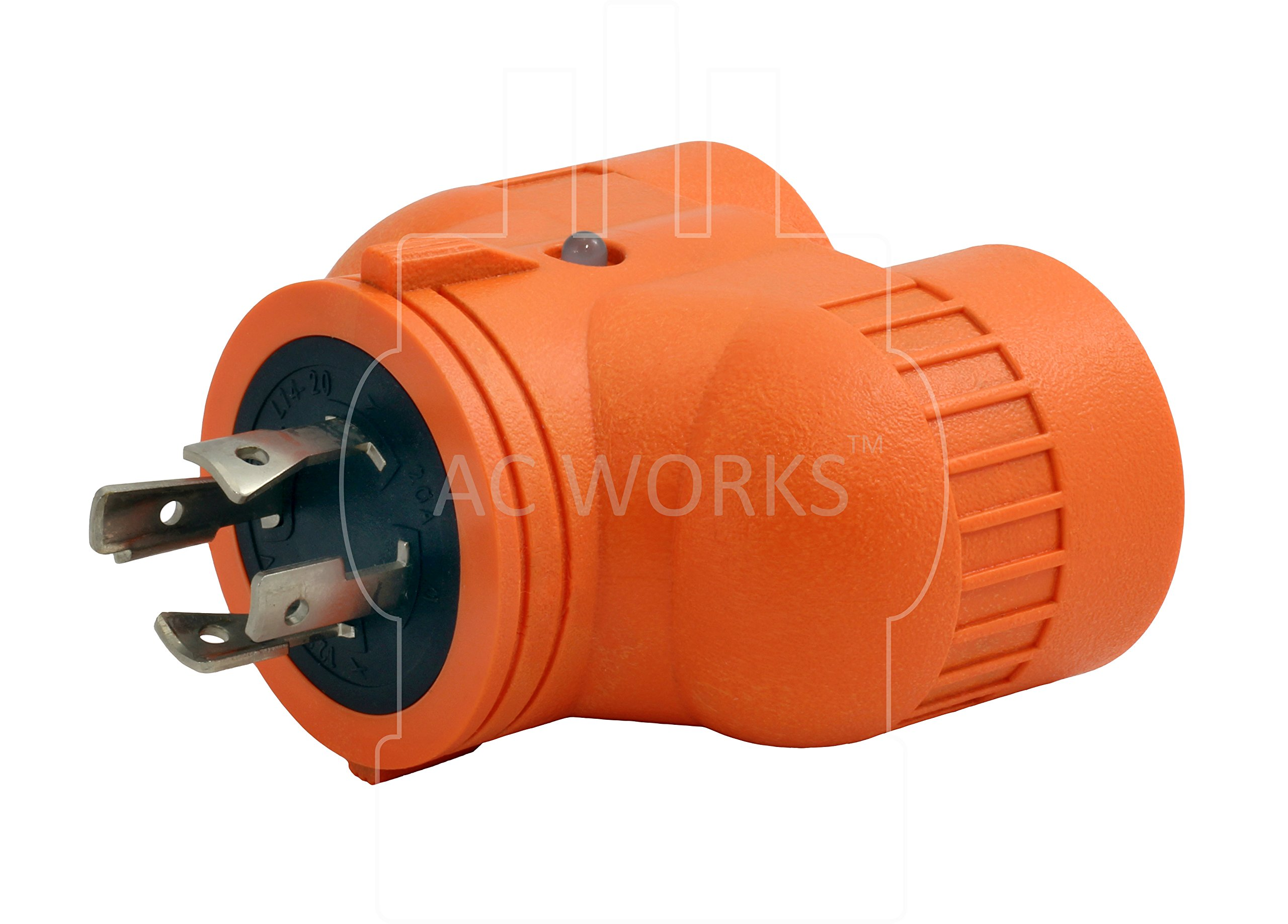 AC WORKS [ADVL1420520] Generator V-DUO Adapter NEMA L14-20P 20Amp 4-Prong Locking Plug to (2) 15/20Amp Household Connectors by AC WORKS (Image #3)