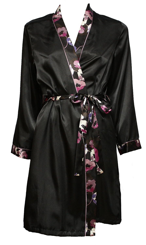 Ex M&S Black Long Sleeve Satin Kimono Dressing Gown Robe Wrap ...