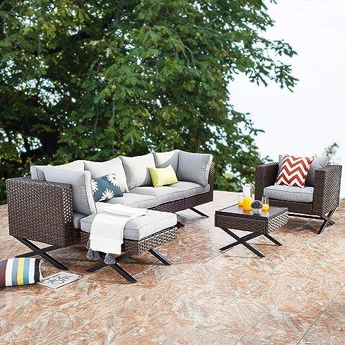 PatioFestival Patio Conversation Set X Shape Leg 7 Pieces Modern Outdoor Furniture Set