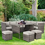 U-MAX Patio Furniture Sets 7 Pieces Outdoor Conversation Set All Weather Wicker Sectional Sofa Couch Dining Table Chair with