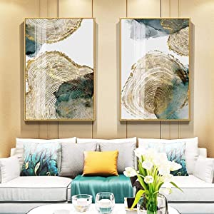 """ThinkingPower Nordic Canvas Print Abstract Modern Gold Annual Rings Canvas Art Poster Plant Leaves Living Room Home Wall Decor 27.5""""x41.3(70x105cm 2pcs Frameless"""