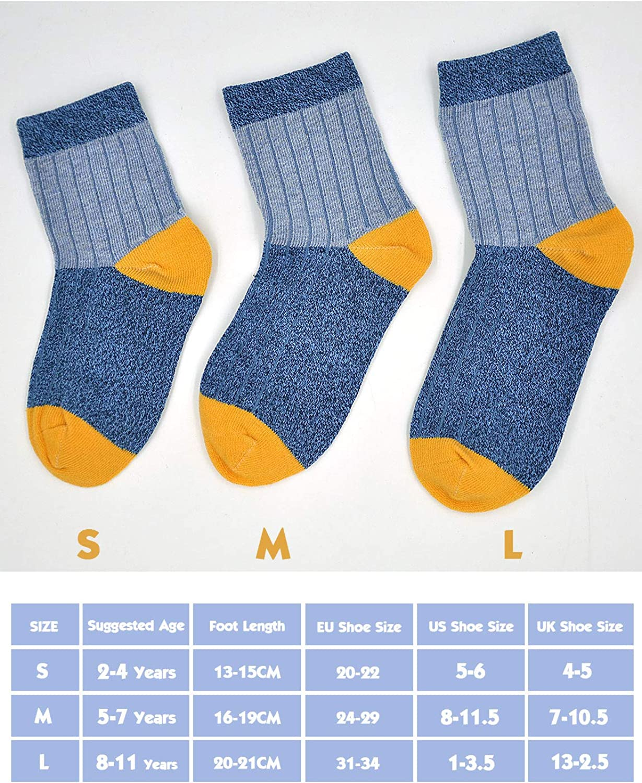 5 Pairs Kids Boys Cotton Socks Toddler Crew Novelty Socks Casual Sports School Socks for Boys 2-11 Years Size 4-13-2.5