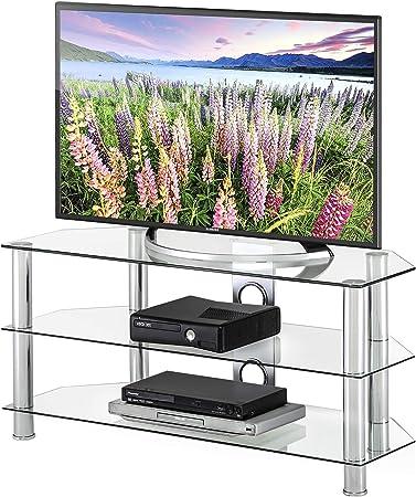 FITUEYES Classic Clear Tv Stand - Traje de cristal templado para ...