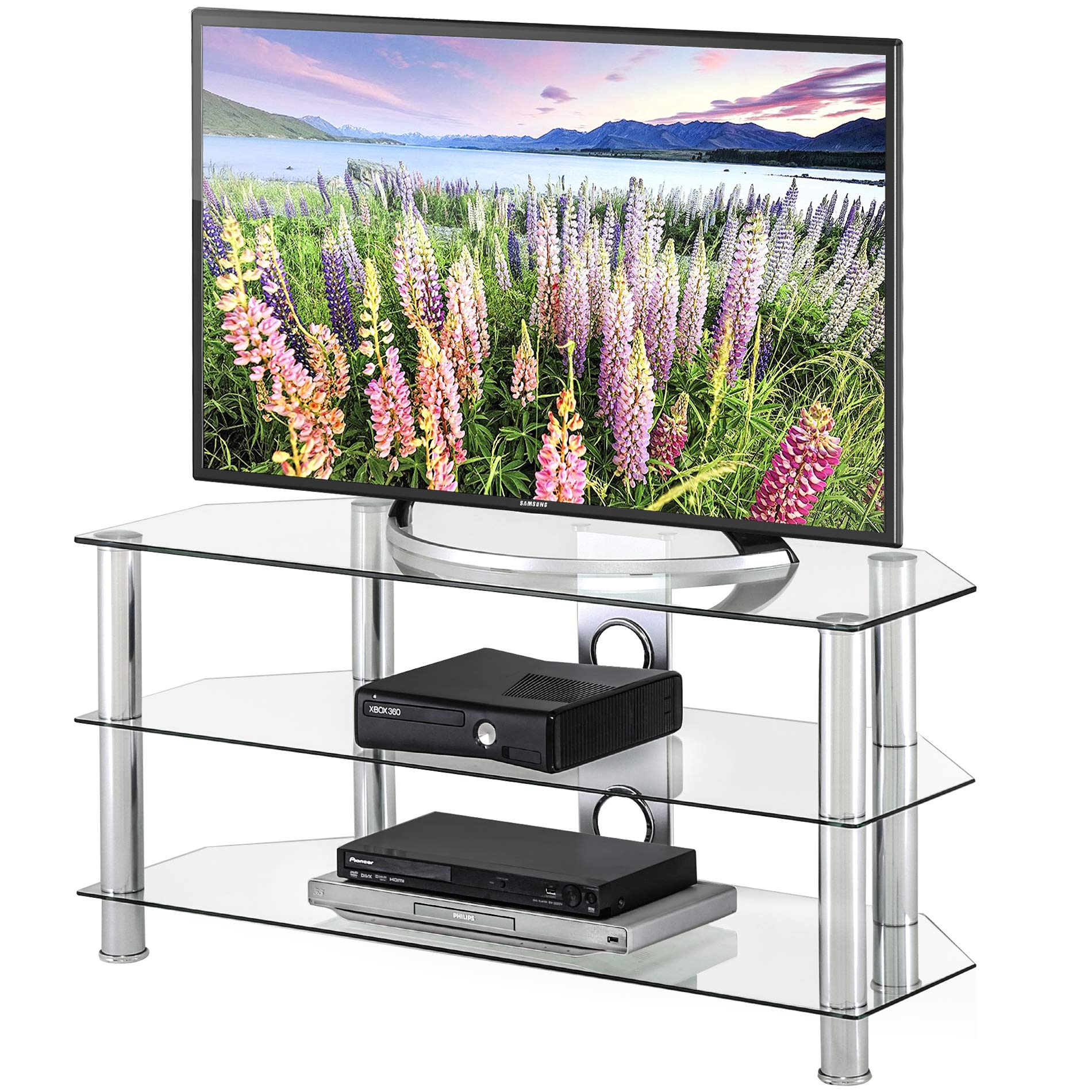 FITUEYES Classic Clear Tempered Glass TV Stand Suit for up to 46-inch LCD LED OLED TVS,TS310501GT by FITUEYES