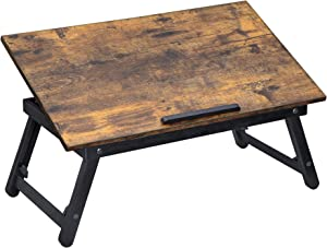SONGMICS Laptop Desk, Adjustable Bed Sofa Table, Breakfast Serving Tray with Folding Legs with Tilting Angles, 23.6 x 13.8 Inches, Rustic Brown ULLD104BY
