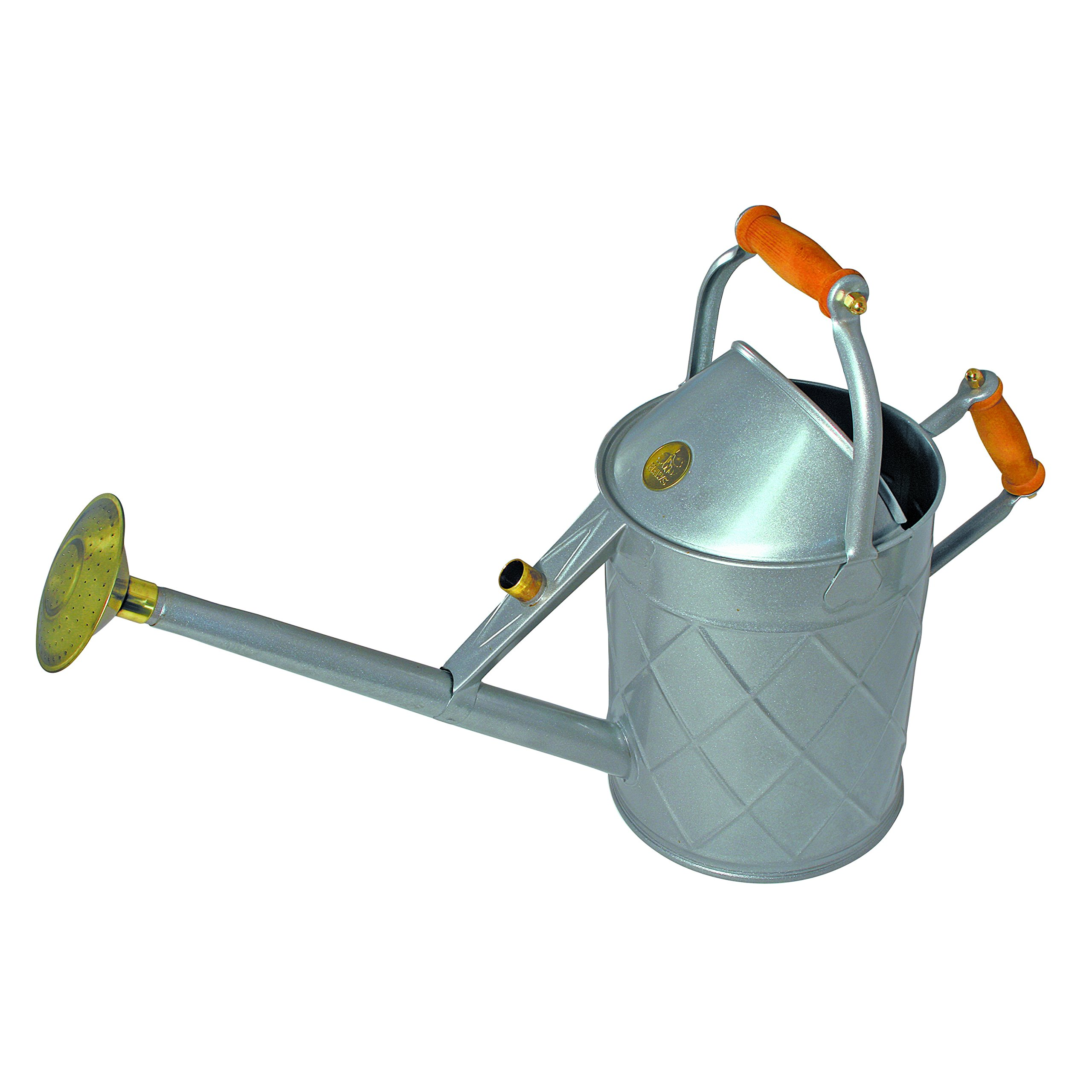 Haws English Garden Heritage 2.3 Gallon Galvanized Metal Watering Can with Wood Handles Grey