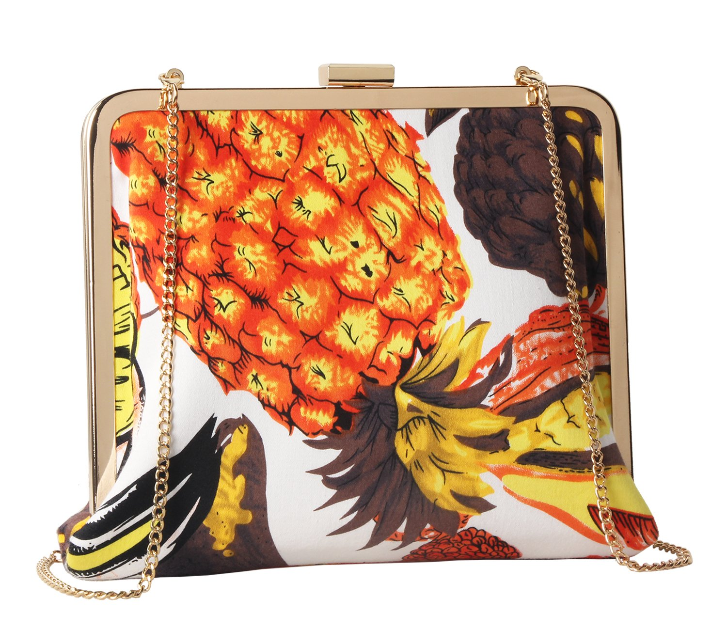 M10M15 Women's Tropic Orange Multi-color Pineapple Floral Printing Clucth Purse for Party