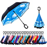 Newsight Reversible Umbrella - Dual Layer Inverted Umbrella, Self-Stand & C-Shape Hook to Free Hands, Reverse Inside Out Folding for Car Driver & Passenger, with Carrying Sleeve & PVC Zip Bag
