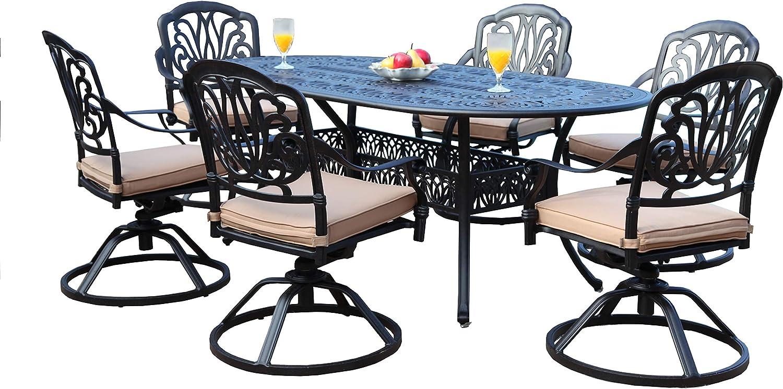 GrandPatioFurniture.com CBM Patio Elisabeth Collection Cast Aluminum 7 Piece Dining Set with 6 Swivel Rockers SH216-6S cbm1290