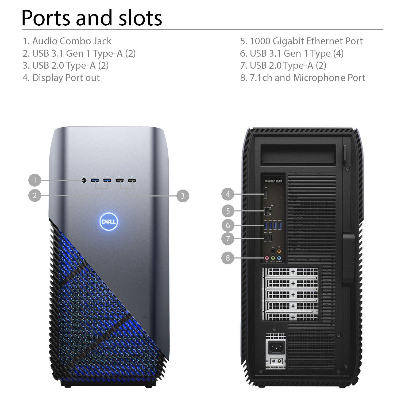 Amazon.com: Dell Inspiron 5680 Gaming Desktop - 8th Gen. Intel Core i7-8700  6-Core up to 4.60 GHz, 24GB DDR4 Memory, 256GB SSD + 1TB SATA Hard Drive,  ...