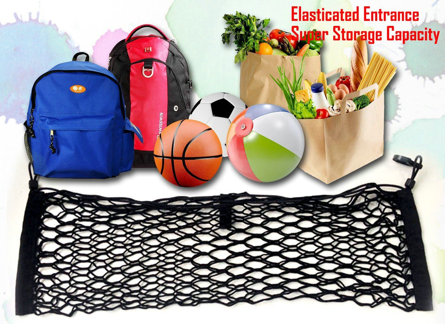 ZILONG Cargo Net Hammock Trunk Organizer Vehicle Storage with 4 Adjustable Hook Black Y123