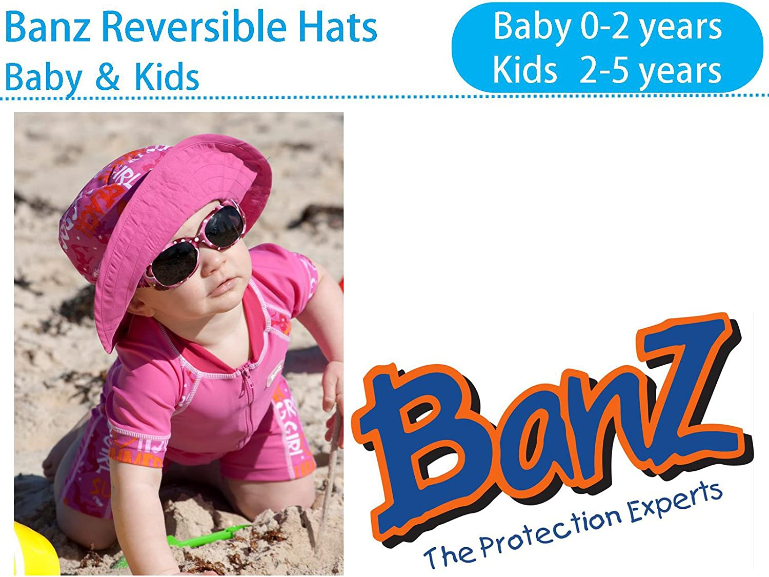 Large Banz Baby Reversible Sun UPF 50 Blue Space HRB032 Hat