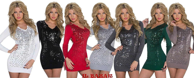 mini abito in maglia con paillettes 7 colori taglia unica