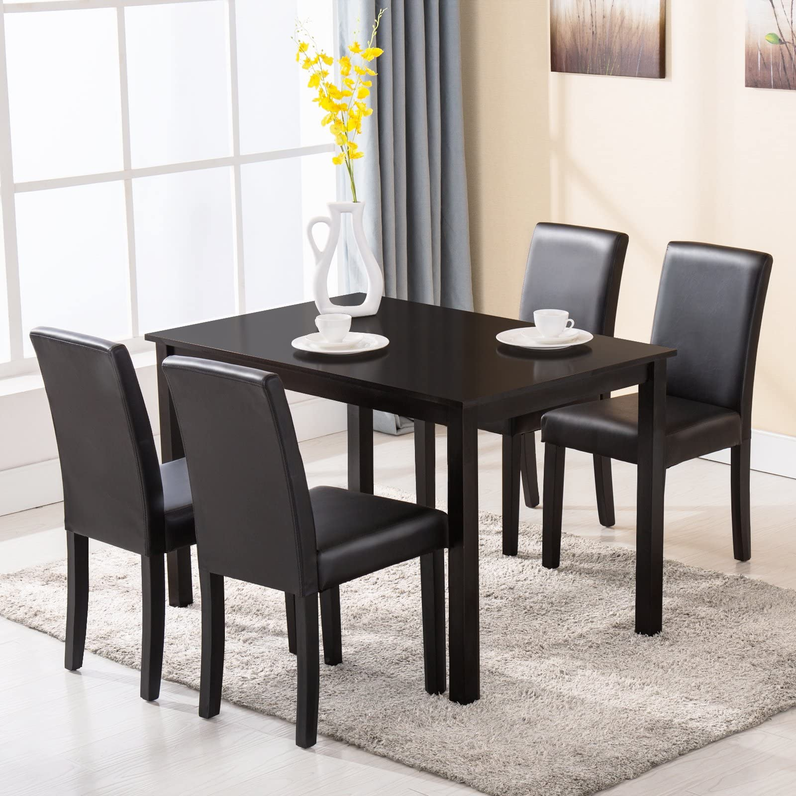 Mecor 5 Piece Dining Table Set Wood Table/4 Leather Chairs Kitchen Room Breakfast Furniture  sc 1 st  Amazon.com : kitchenette table sets - pezcame.com