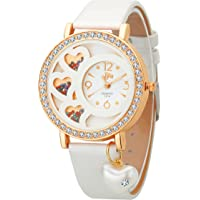 DFa Rose Gold White Heart Dial, Heart Dangle White Leather Strap Analogue Watch for Girls -DFa027