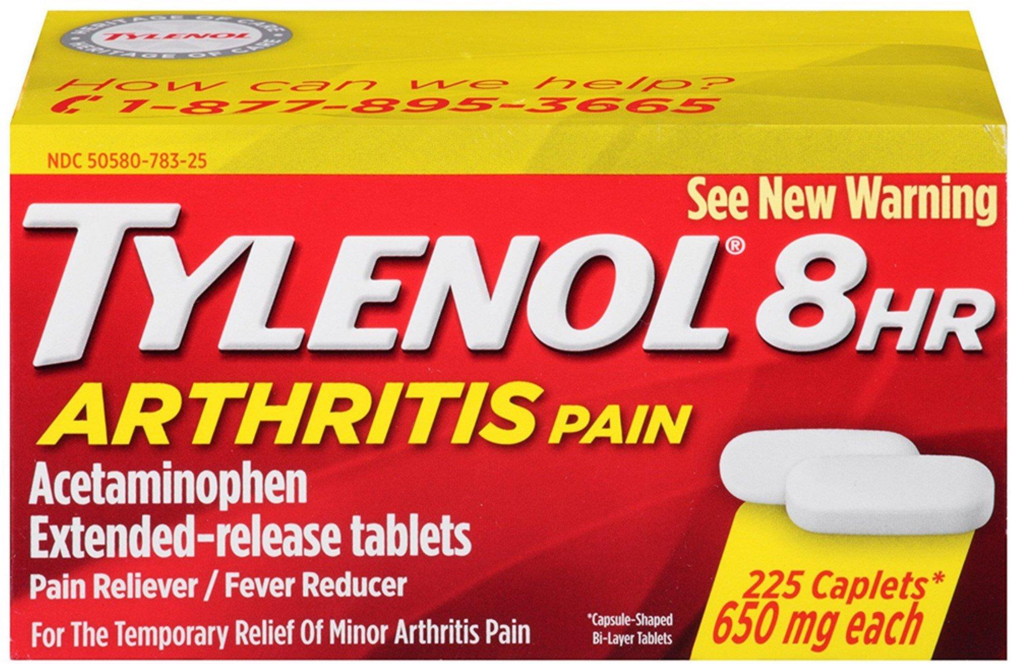 TYLENOL 8 HR Arthritis Pain Extended Release 650 mg Caplets 225 ea (3 Pack) by Tylenol