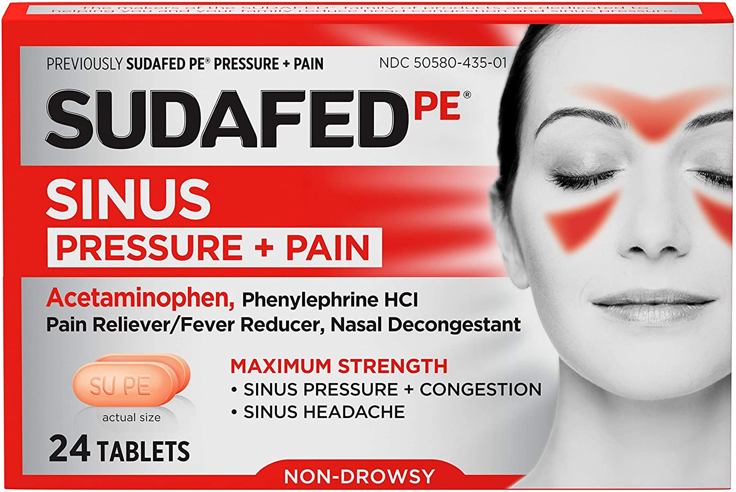 Sudafed PE Sinus Pressure + Pain Relief Maximum Strength Non-Drowsy Decongestant, 24 ct: Health & Personal Care