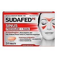 Sudafed PE Sinus Pressure + Pain Relief Maximum Strength Non-Drowsy Decongestant, 24 ct