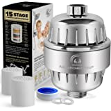 15 Stage Shower Water Filter Vitamin C - 2 Cartridge Included - Removes Chlorine, Impurities & Unpleasant Odors - Shower Filters - For Any Showerhead and Handheld Shower