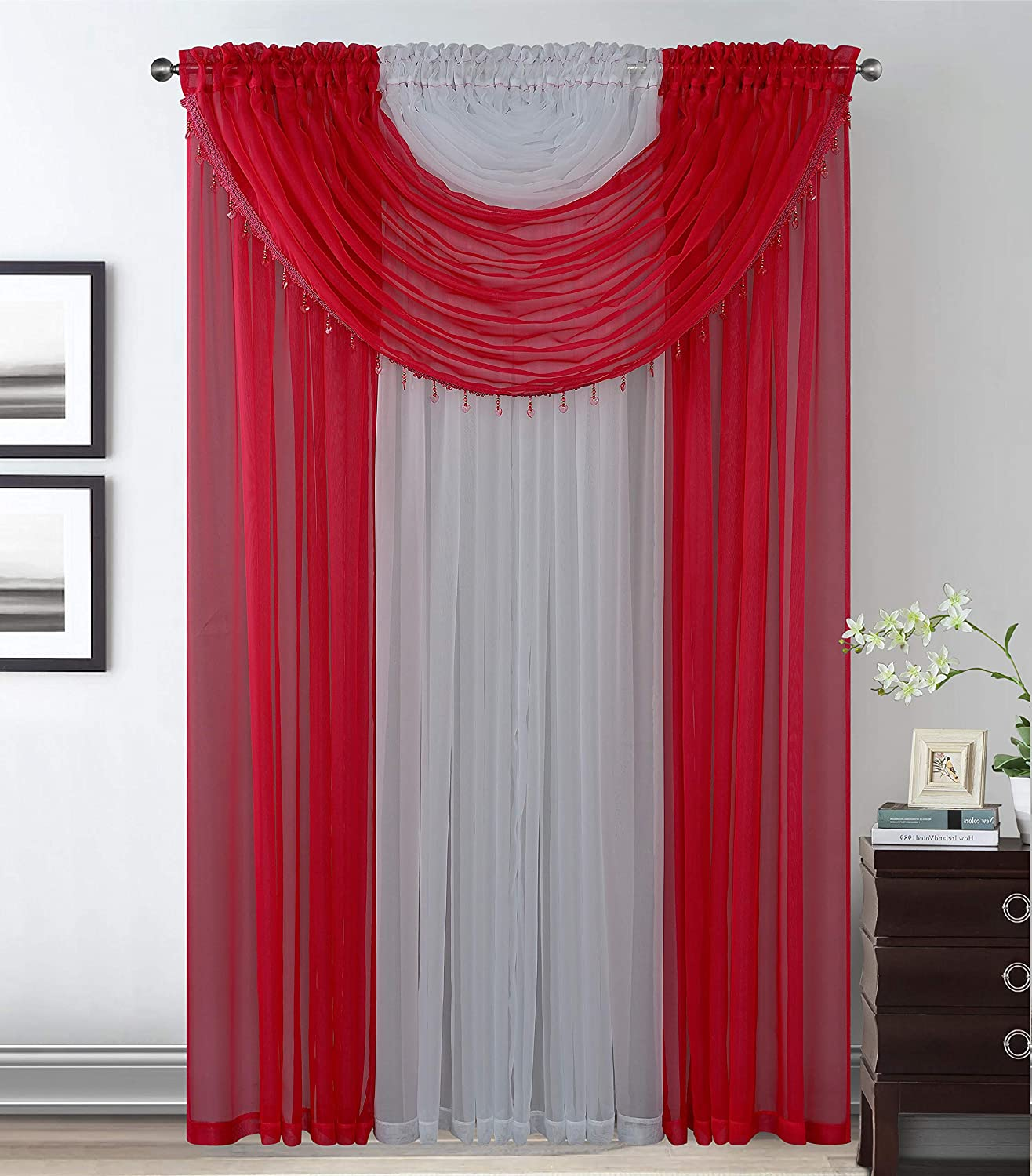 Elegant Home Complete Multicolor Window Sheer Curtain All-in-One Set with 4 Panels and 2 Valances with with Crystal Beads for Living Room, Dining Room, Or Any Other Windows- Laura (Red / White)