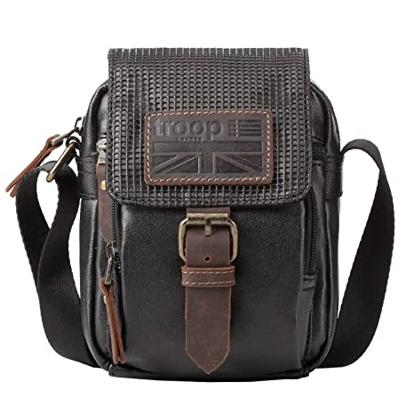fd04fd0dac Troop TRP0457 London Coated Canvas Casual Crossbody Bag for Men and Women  H17.5 X