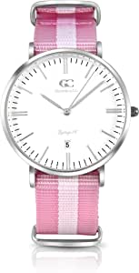 Gelfand & Co. Women's Minimalist Watch Pink/White NATO Strap Albany 36mm Silver with White Dial
