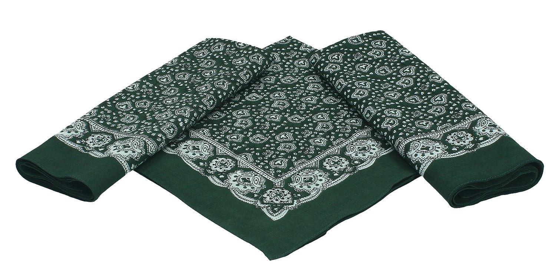Betz. Set di 3 bandane con motivo Paisley, misura: 55 x 55 cm, 100 % cotone, colore: verde