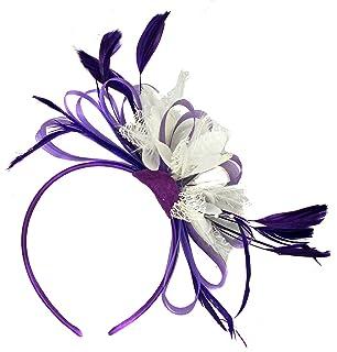 47e392c8770d0 Cadbury Purple and White Net Hoop Feather Hair Fascinator Headband Wedding  Royal Ascot…