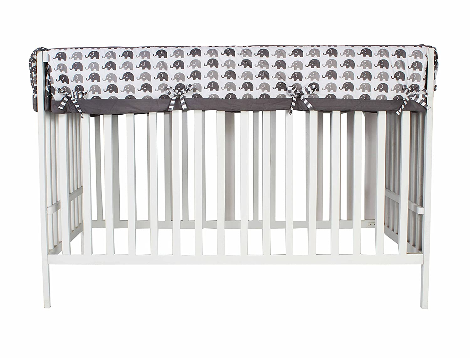 Bacati Elephants Unisex Long Crib Rail Guard Cover Made with 100 Cotton Percale Fabrics and Polyester Batting for US Standard Cribs, Grey Inc. EWGLCR
