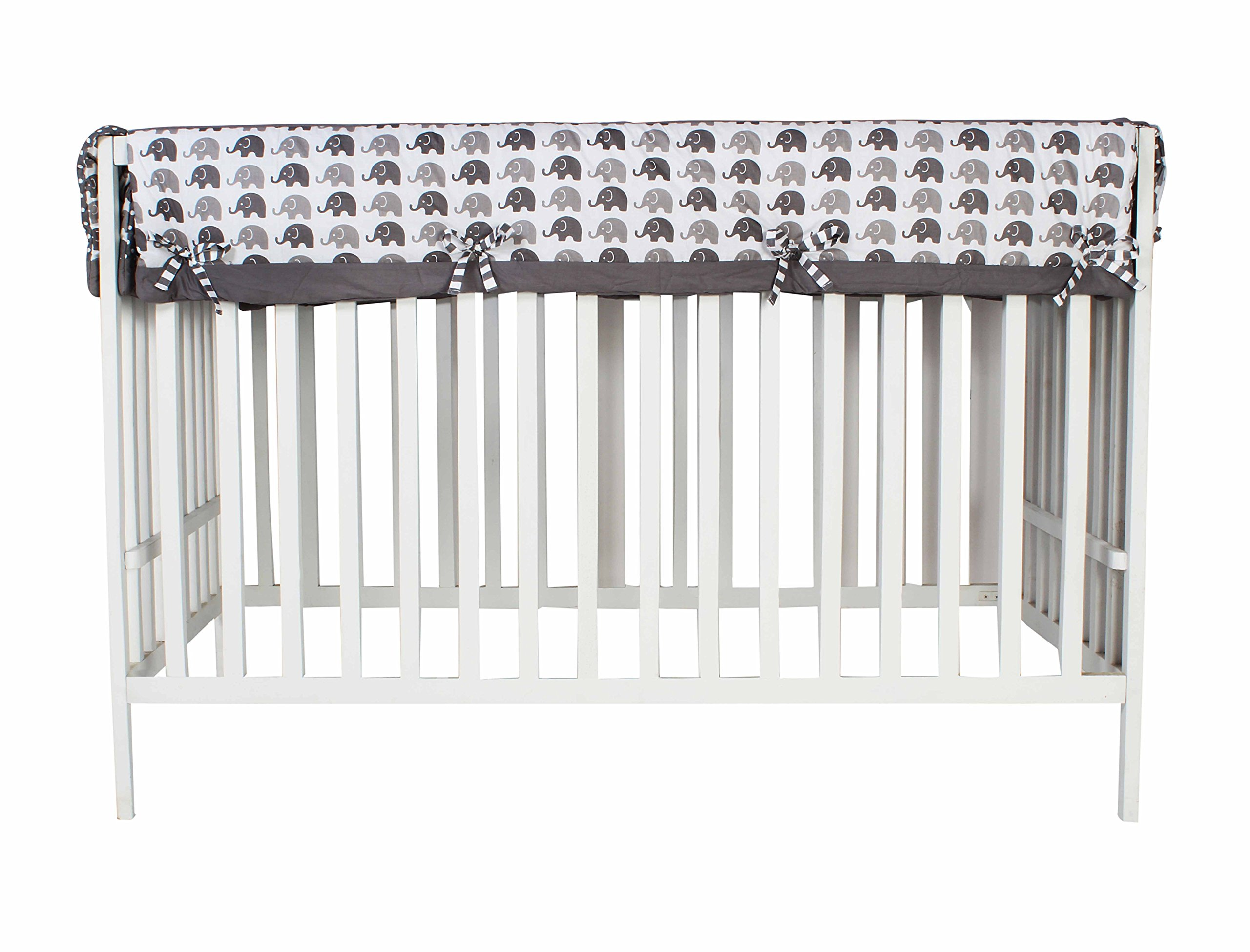 Bacati Elephants Unisex Long Crib Rail Guard Cover Made with 100 Cotton Percale Fabrics and Polyester Batting for US Standard Cribs, Grey