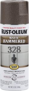 Rust-Oleum 314418 Stops Rust Hammered Spray Paint, 12 Oz, Matte Brown