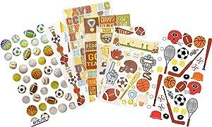 Scrapbook Sports Stickers   Baseball, Soccer, Basketball, Volleyball, Tennis Sport Sticker Set   for Scrapbooking, Planners, Laptop, Helmet, Locker, Dorm Room Decor, Journal, Album, DIY Crafts