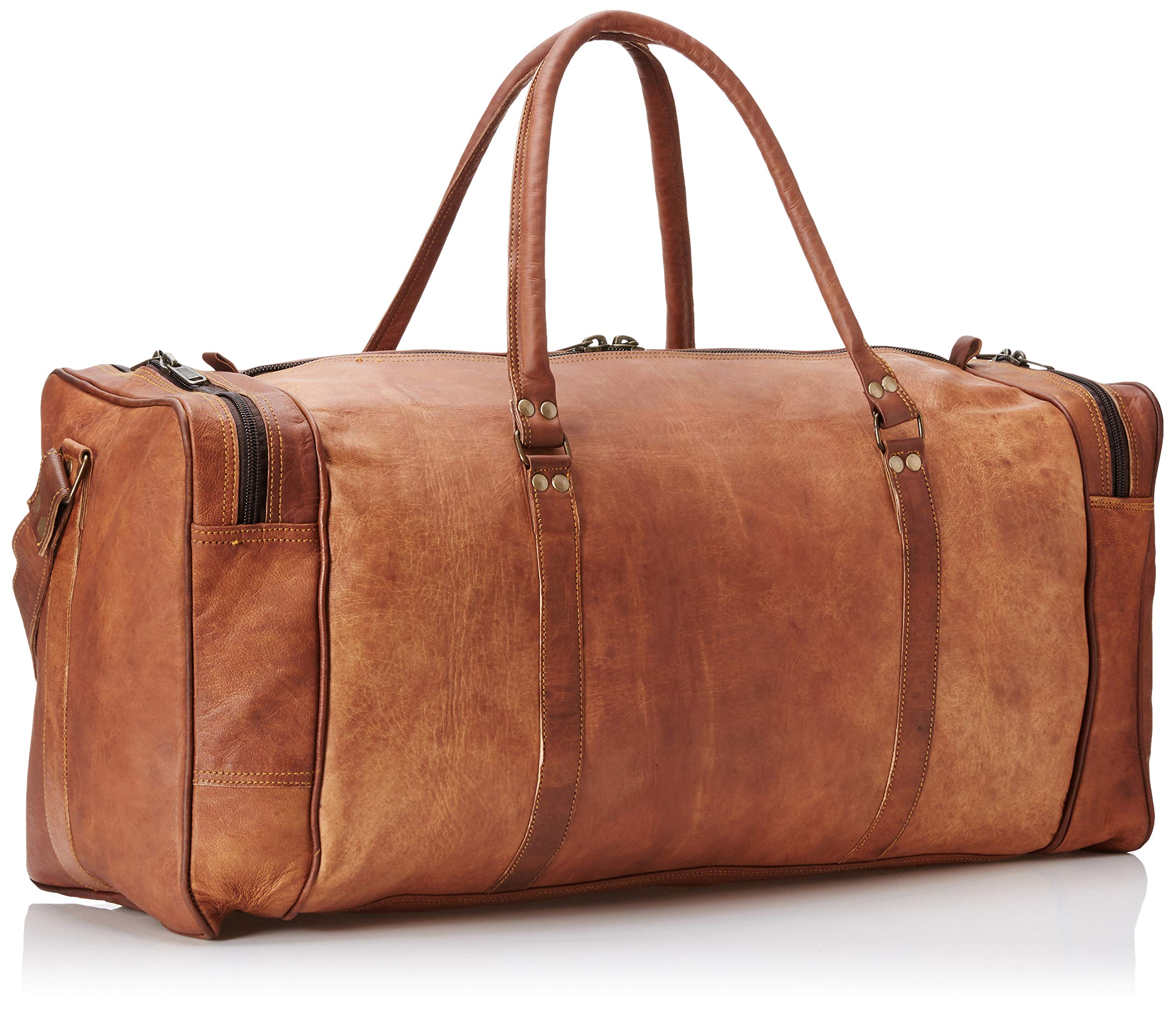 Leather 24 Inch Square Duffel Travel Gym Sports Overnight Weekend Leather Bag by Ruzioon (Image #2)