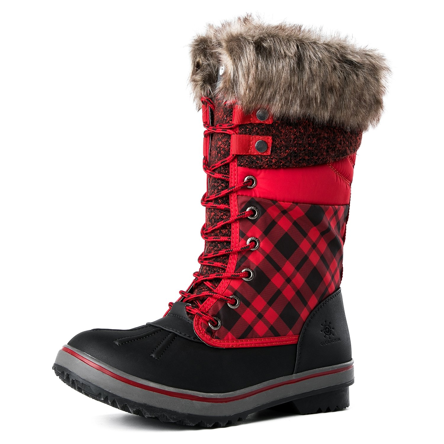 Global Win GLOBALWIN Women's 1730 Winter Snow Boots B075DGJDCJ 8.5 B(M) US|1733black/Red