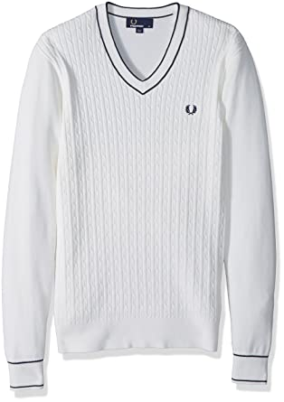 Amazon Fred Perry Mens Cable Knit V Neck Jumper Clothing