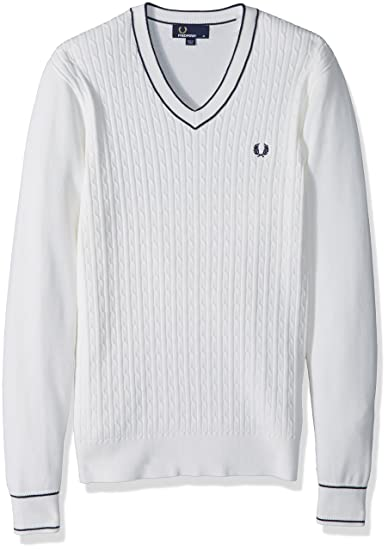 Amazoncom Fred Perry Mens Cable Knit V Neck Jumper Clothing